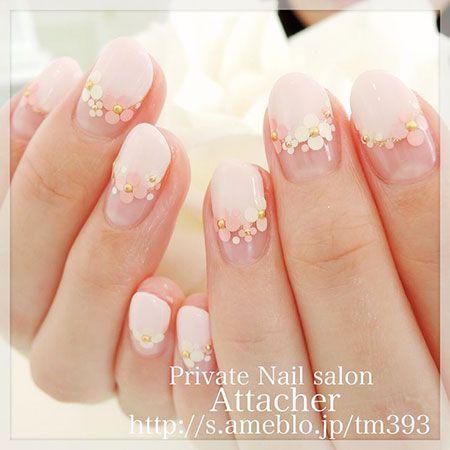 Short Korean Nail Art Nail Design Pink Flowers Korean Nail Art Bridal Nail Art Sunflower Nails