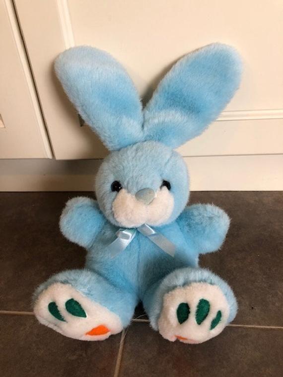 Vintage Baby Blue Easter Bunny Plush Carrot Feet