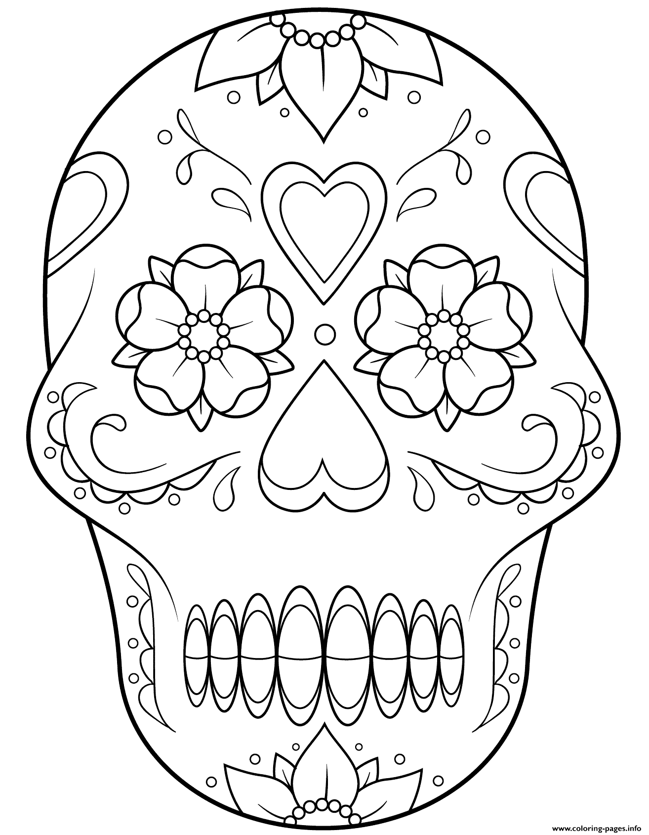 Print sugar skull 2 calavera coloring pages Skull
