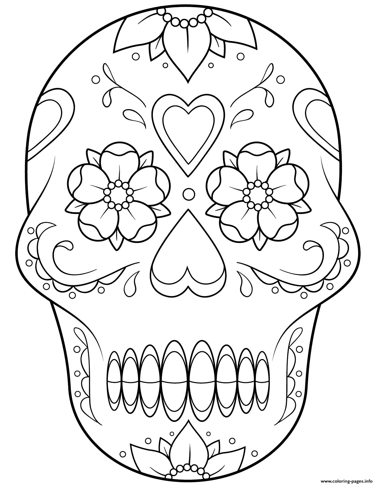 Print Sugar Skull 2 Calavera Coloring Pages