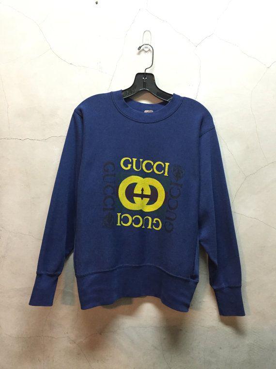 vintage sweatshirt, 80s, Gucci, vintage Gucci sweatshirt, navy blue,  Gucci shirt, sweatshirt, 50 50 poly cotton, medium