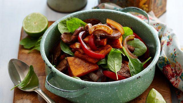 Pork and pumpkin stir fry