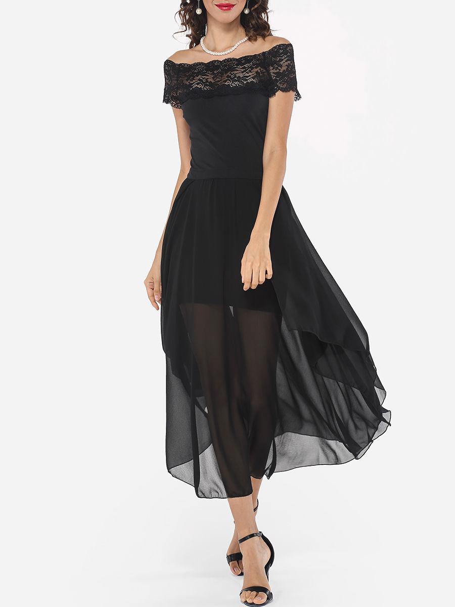 #AdoreWe #FashionMia Maxi Dresses - FashionMia Lace Patchwork Plain Asymmetrical Hems Elegant One Shoulder Maxi-dress - AdoreWe.com