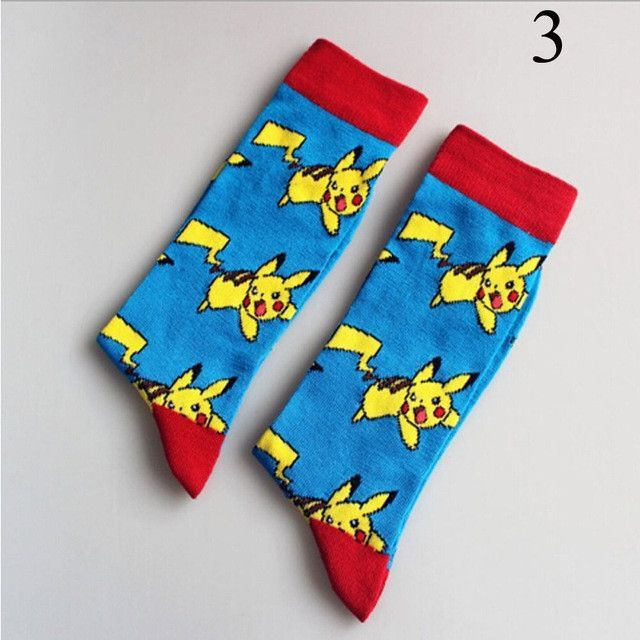 4Color Unisex Women Men Cute Pikachu in Pokemon Cartoon Autumn Winter Tube Soft long Warm Cotton Socks UK 38~44 Size Hot