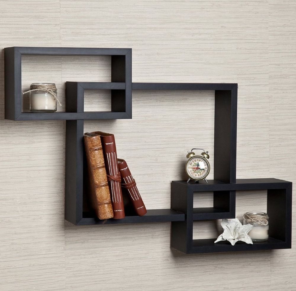 Intersecting Shelf Wall Floating Decorative Squares Storage Home