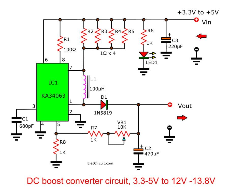 Dc Boost Converter Circuit 3 3 5v To 12v 13 8v Eleccircuit Electronic Circuit Projects Power Supply Circuit Circuit Diagram