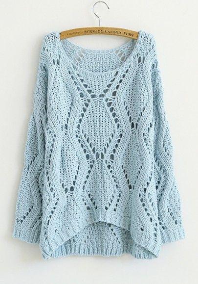 Blue Plain Round Neck Long Sleeve Cotton Sweatershirt | Blue ...