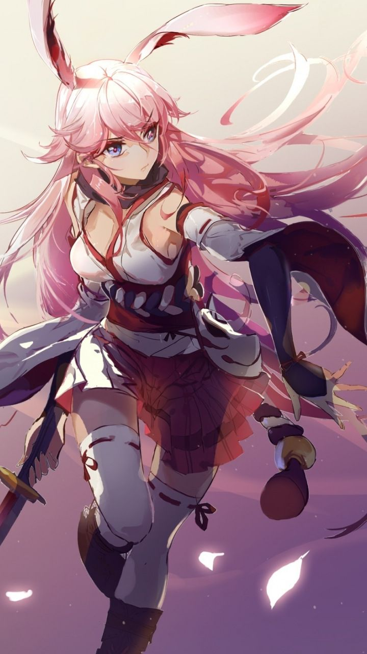 Yae sakura benghuai xueyuan anime girl sword 720x1280 - High quality anime pictures ...