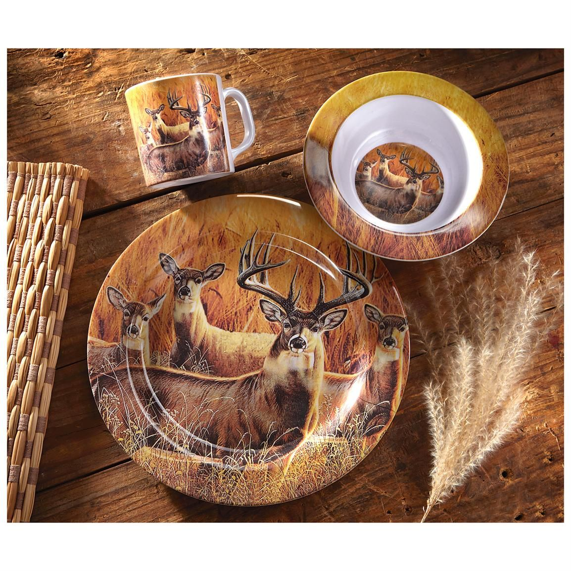CASTLECREEK™ 12 - Pc. Whitetail Melamine Dinnerware Set PRICED LESS! & CASTLECREEK™ 12 - Pc. Whitetail Melamine Dinnerware Set PRICED LESS ...