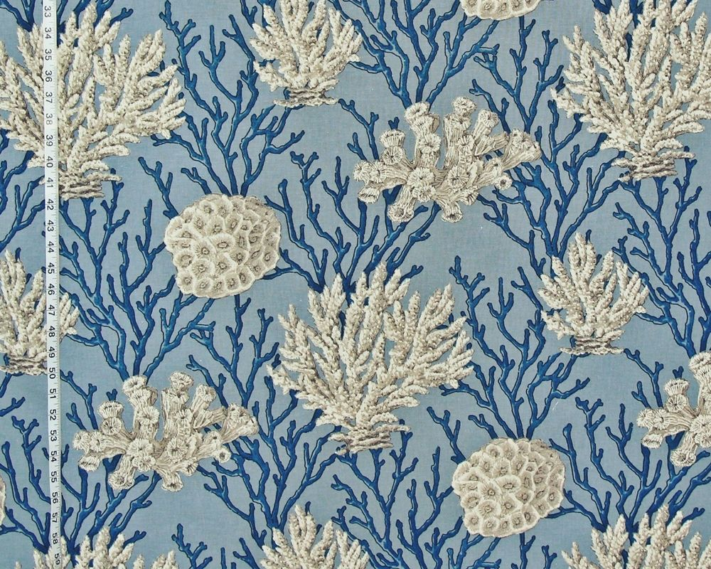 Three New Ocean Fabrics Came In There Is A Blue Coral Fabric And Two New Seashell Fabrics Shell Coral Drop Cloth Curtains Colorful Curtains Floral Curtains