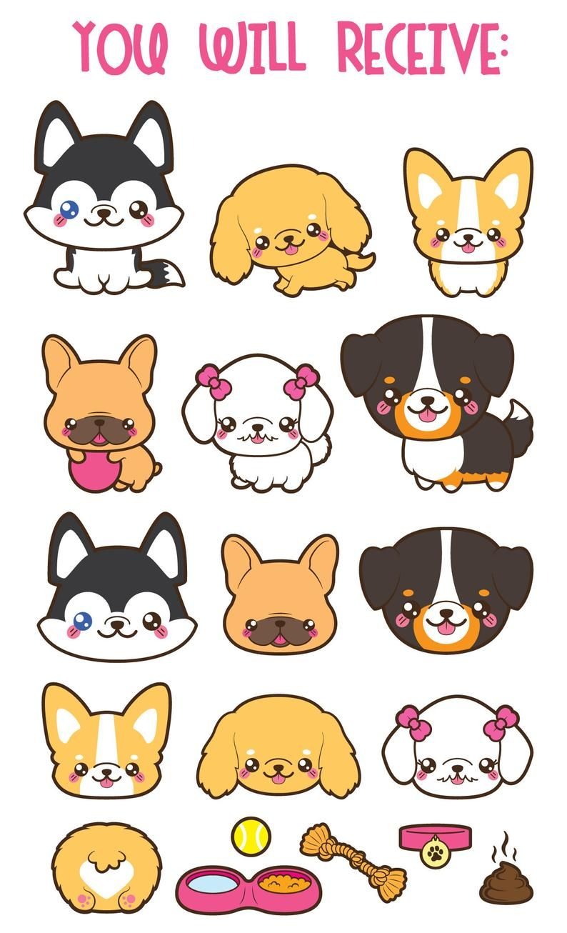 Clipart Chien Kawaii Mignon Chien Clipart Clipart De Races Etsy Cute Dog Drawing Puppy Clipart Chibi Dog