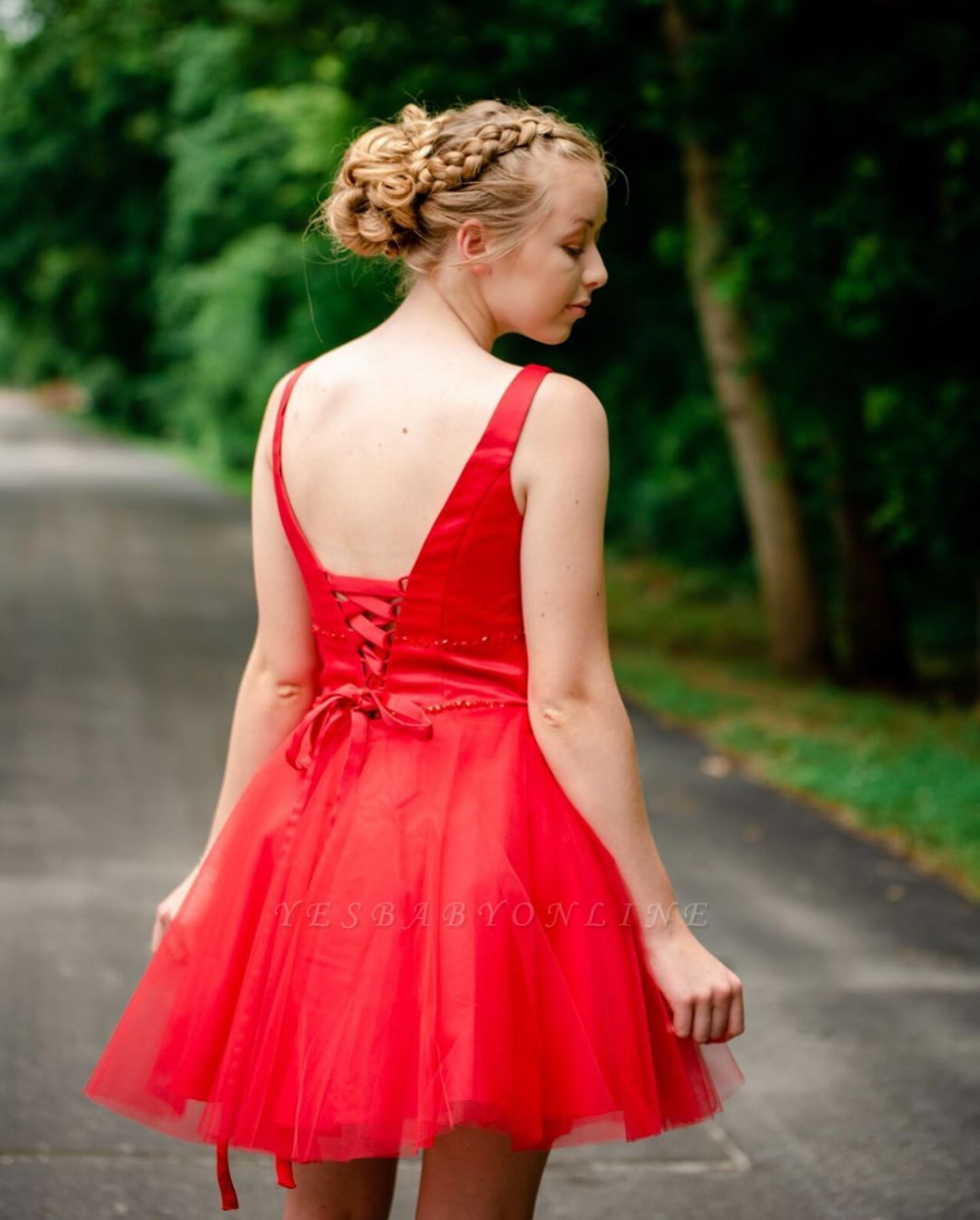 Simple V Neck Straps Red Homecoming Dress | A Line Tulle Sleeveless Beading Short Cocktail Dress #backlesscocktaildress