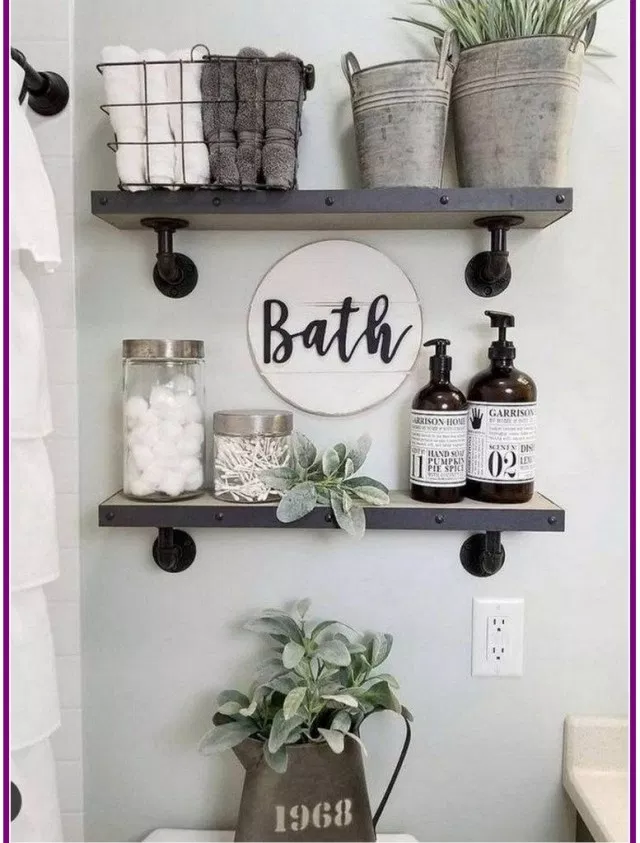 27 Best Rustic Farmhouse Bathroom Makeover Ideas Aux Pays Des Fleurs Com Diy Shelves Bathroom Small Bathroom Decor Bathroom Decor