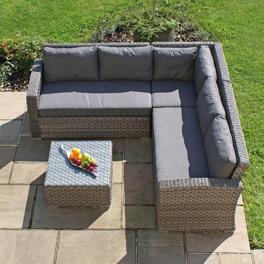 Amberley Small Garden Corner Sofa And Coffee Table Grey And Grey Garden Garden Rattan Corner Sofa Furniture Sofa Set Small Corner Sofa