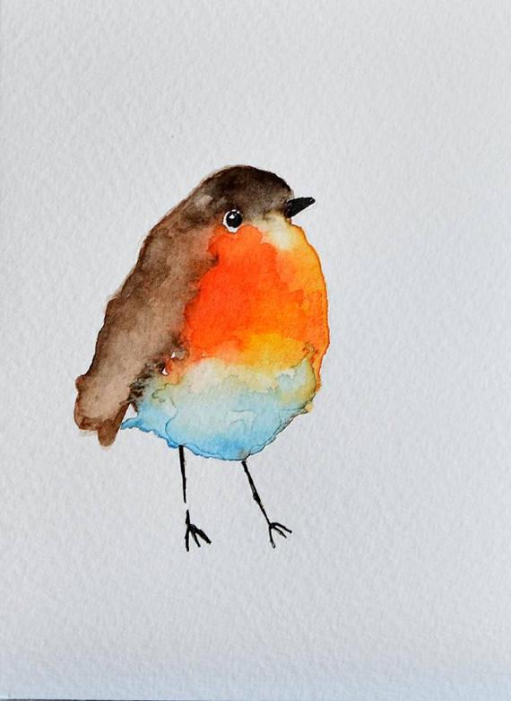 Carte De Voeux Unique Originale Aquarelle Oiseau Peinture