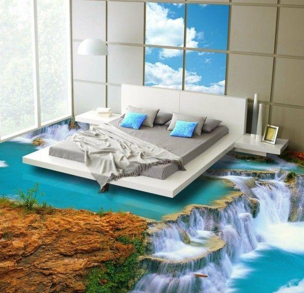 Epoxy flooring bedroom waterfalls dreidimenioniert - Resine pour carrelage sol ...