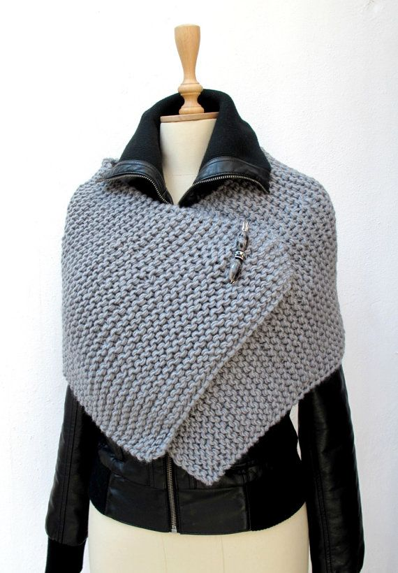 Knitting Capelet, Poncho , Knit, Knitted, Wrap Grey Chunky Sporty ...