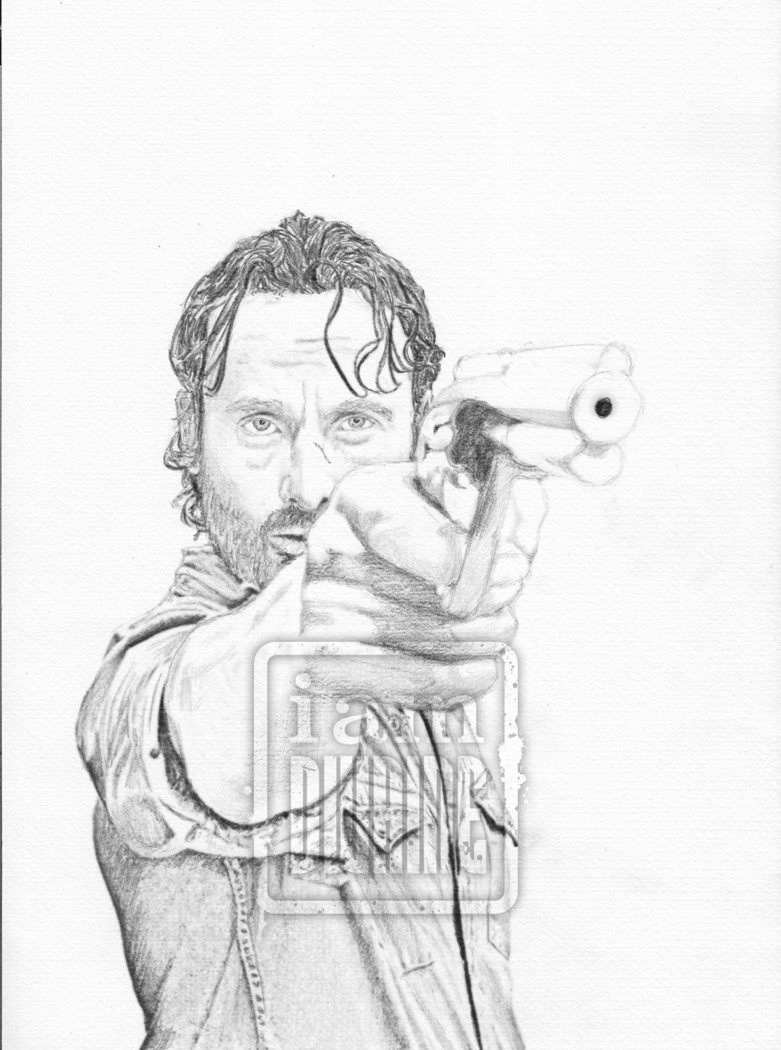 Rick Grimes Pencil Drawing The Walking Dead Fan Art Print By
