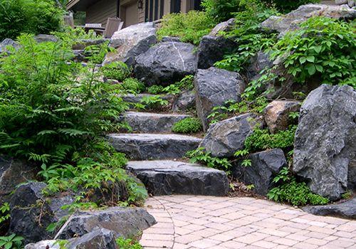 steps - flat boulder stone