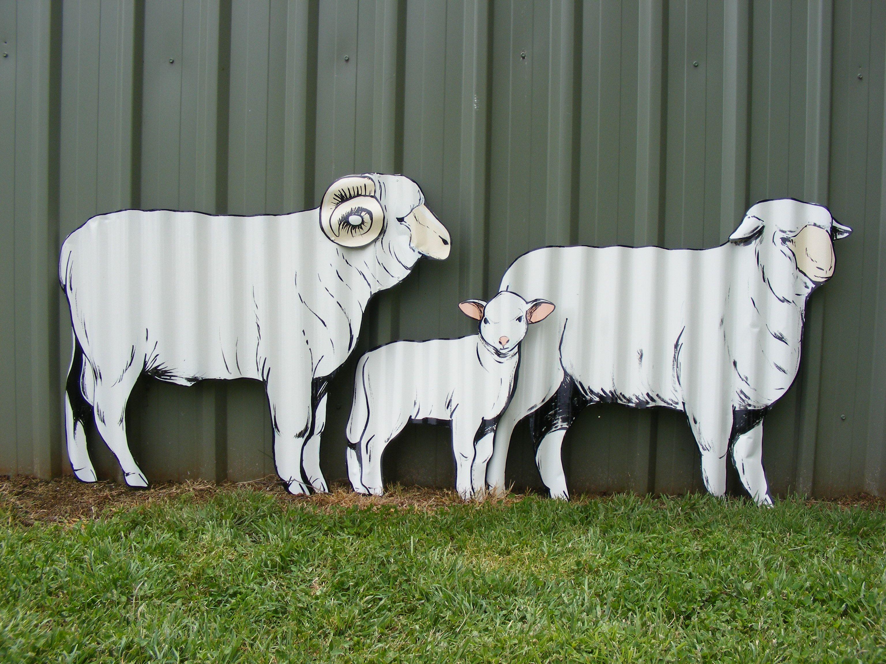 Handpainted corru yard art sheep