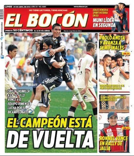 'El campéon está de vuelta'. Así resalta El Bocón la contundente victoria de Sporting Cristal sobre Universitario.