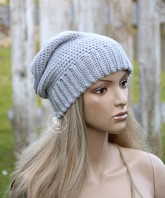 ea3632eadd2 Gray crochet Hat Slouchy grey hat Womens beanie hat Grey womens hat Winter  accessories Fashion grey
