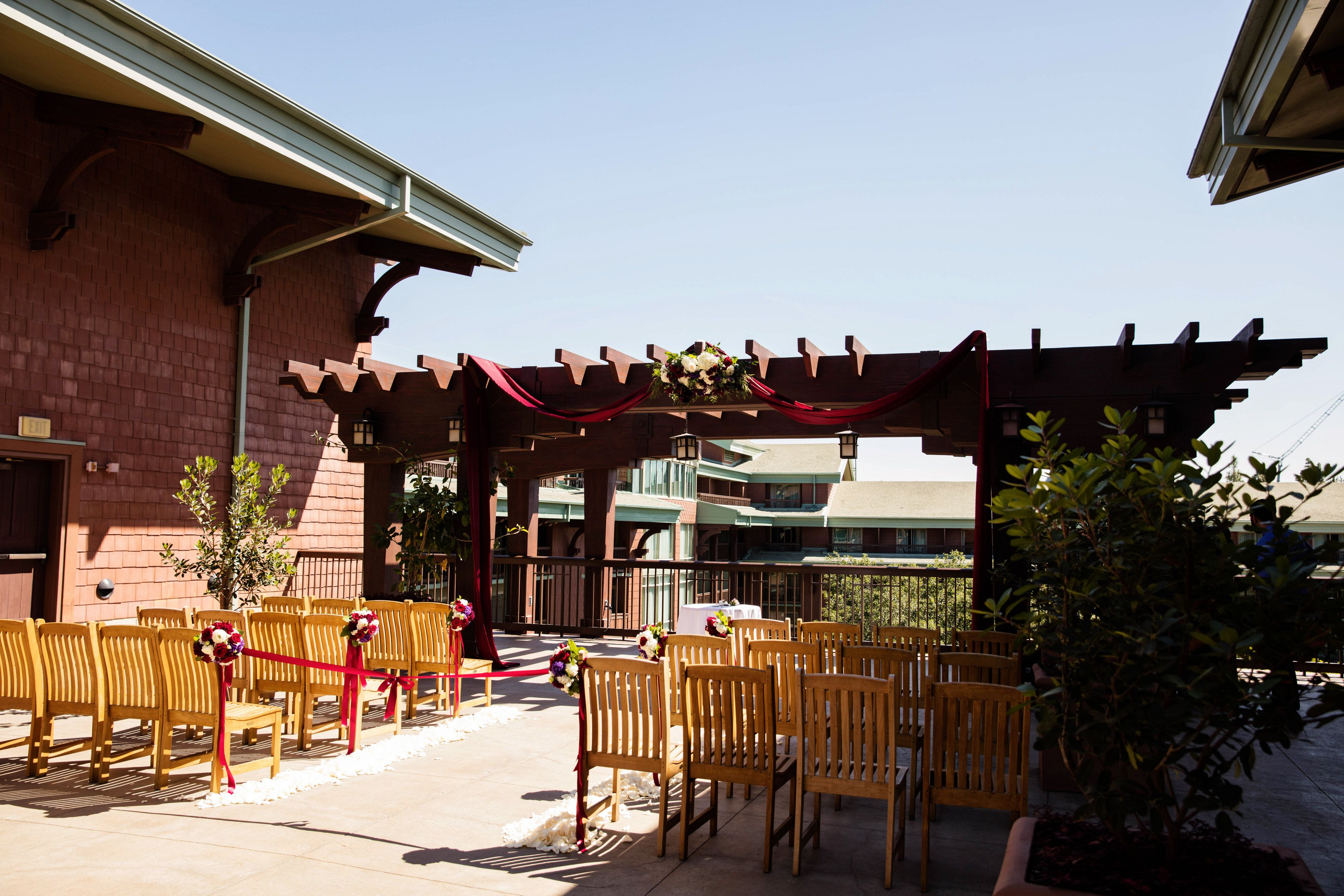 Parkview Terrace Setup For An Escape Wedding Located At Disney S Grand Californian Hotel Spa