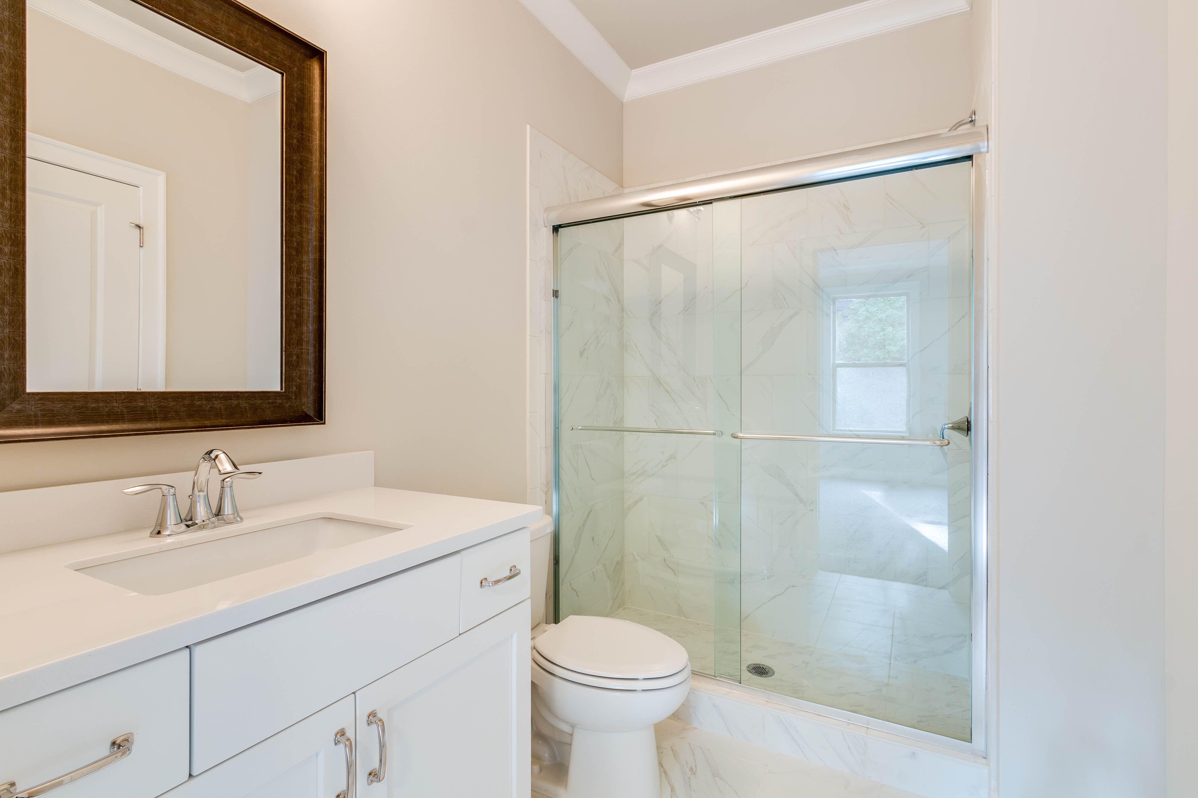 This Calhoun Bath Features The Piedrafina Glacier White Marble Top And Floine Carrara Shower Wall Tile