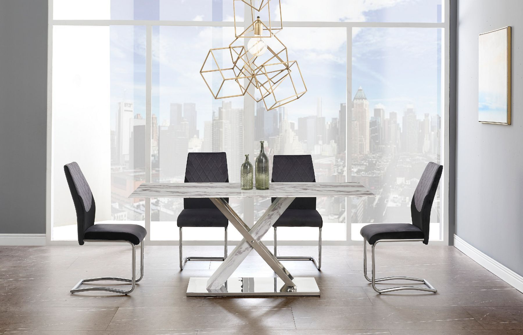 Global Usa G1274 Gray Marble Dining Table Top W Stainless Steel
