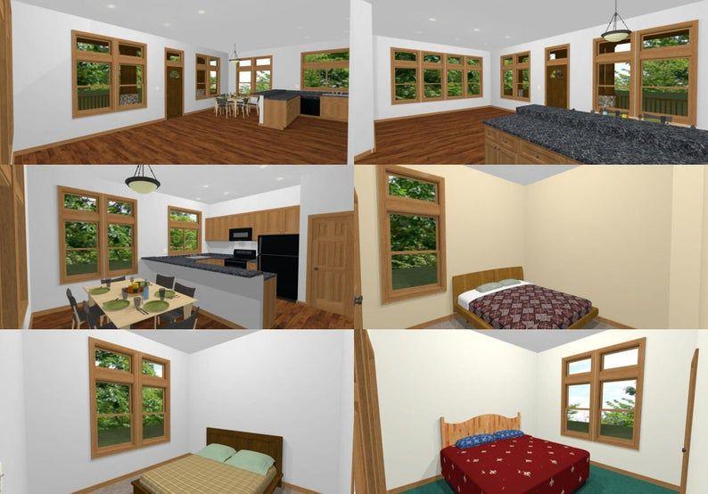 30x40 House 3 Bedroom 2 Bath 1 200 sq ft PDF Floor Plan Instant Download Model 3A