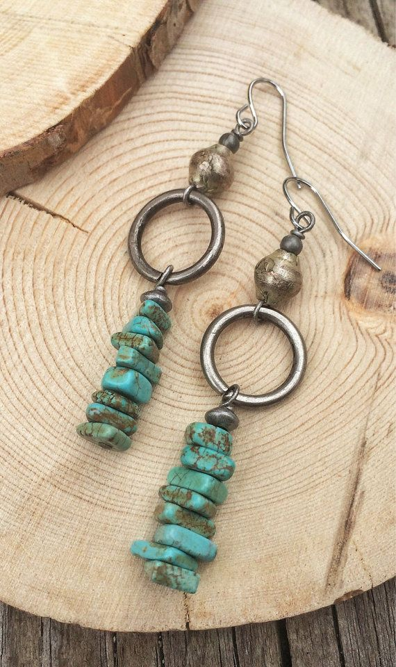Turquoise Earrings Turquoise Jewelry Antiqued by Lammergeier