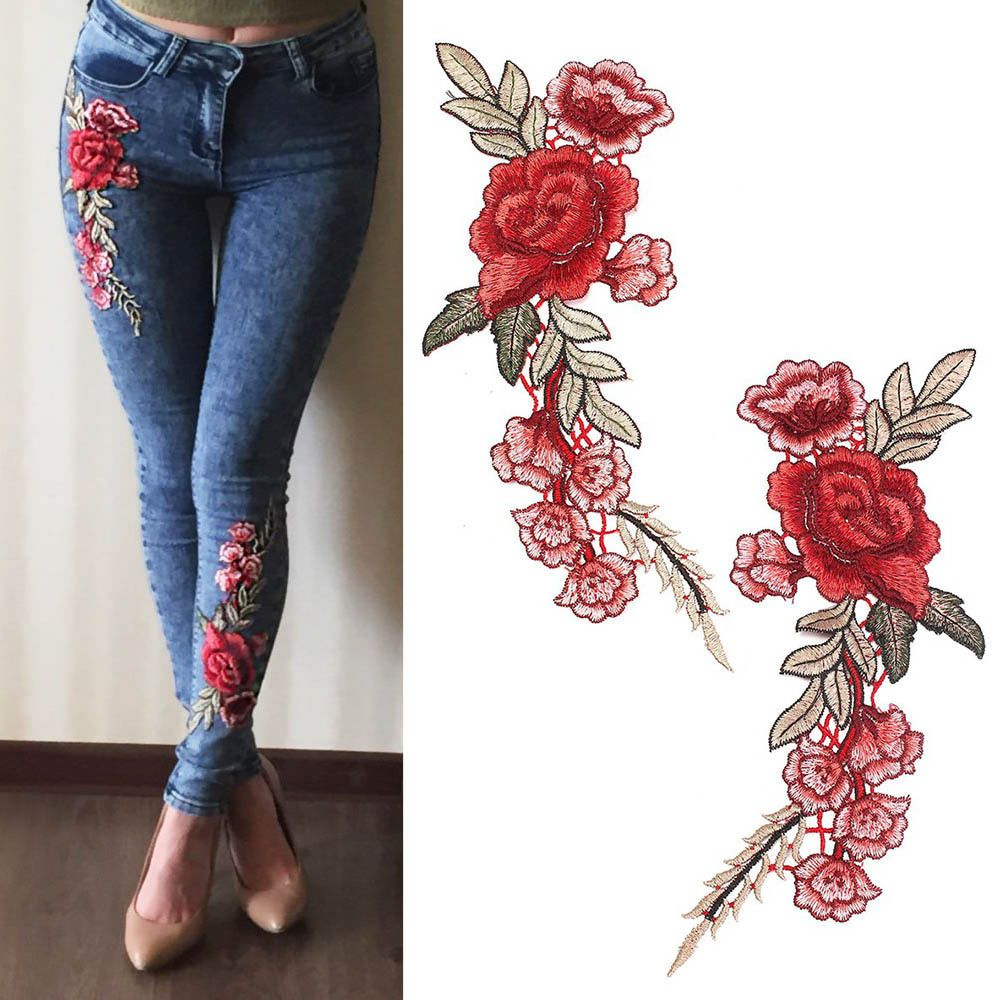 1 Pair Rose Flower Embroidery Sew on Patch Sewing Applique DIY Craft for Clothes