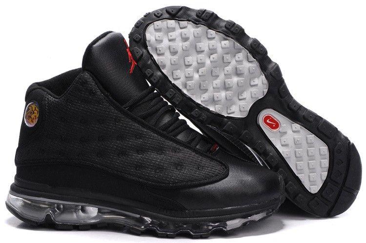Mens Air Jordan Thirteen Air Max Fusion Shoes Red White Black