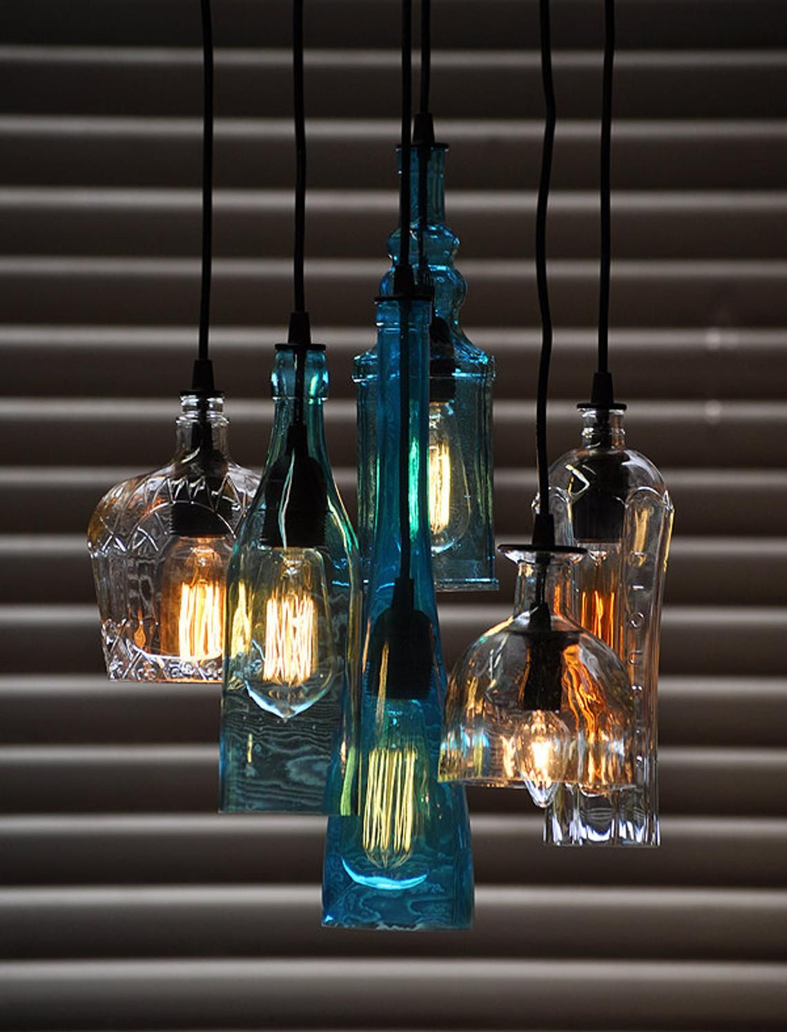 The Glendora Recycled Bottle Light Chandelier With Customizable