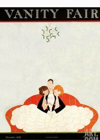 """A. H. Fish's cartoon cover of Vanity Fair magazines traditionally combined minimalist style with mischievous subject matters. Here, a suave partygoer finds himself with a lady on each arm, directly under an extra large bunch of mistletoe."" Vanity Fair Cover - December 1,1921. Illustration by A. H. Fish. Photo via www.art.com."