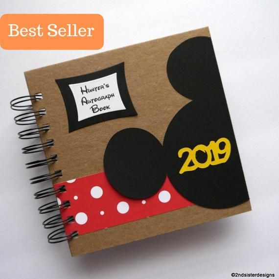 2019 or 2020 80 pages Disney Autograph Book original peeking Mickey style personalized custom grb