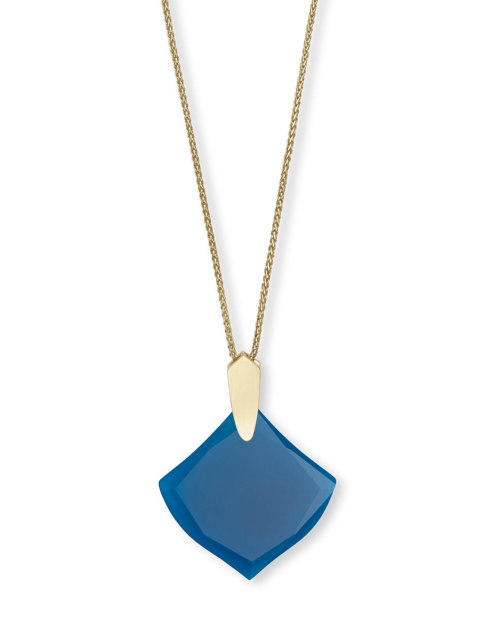 Aislinn gold long pendant necklace in teal agate kateus wish list
