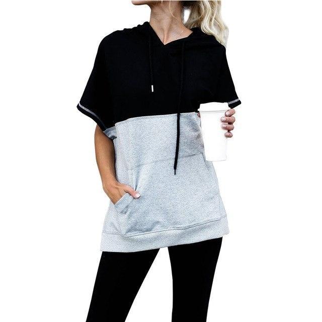 2019 WomenS Hooded T-Shirts Black Gray Color Pocket Hooded Women Short Sleeve Summer Tops Vetement Femme Tshirt DN06767 XL