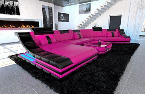 Mega Designer Leder Wohnlandschaft TURINO CL XL-Form pink-schwarz ...