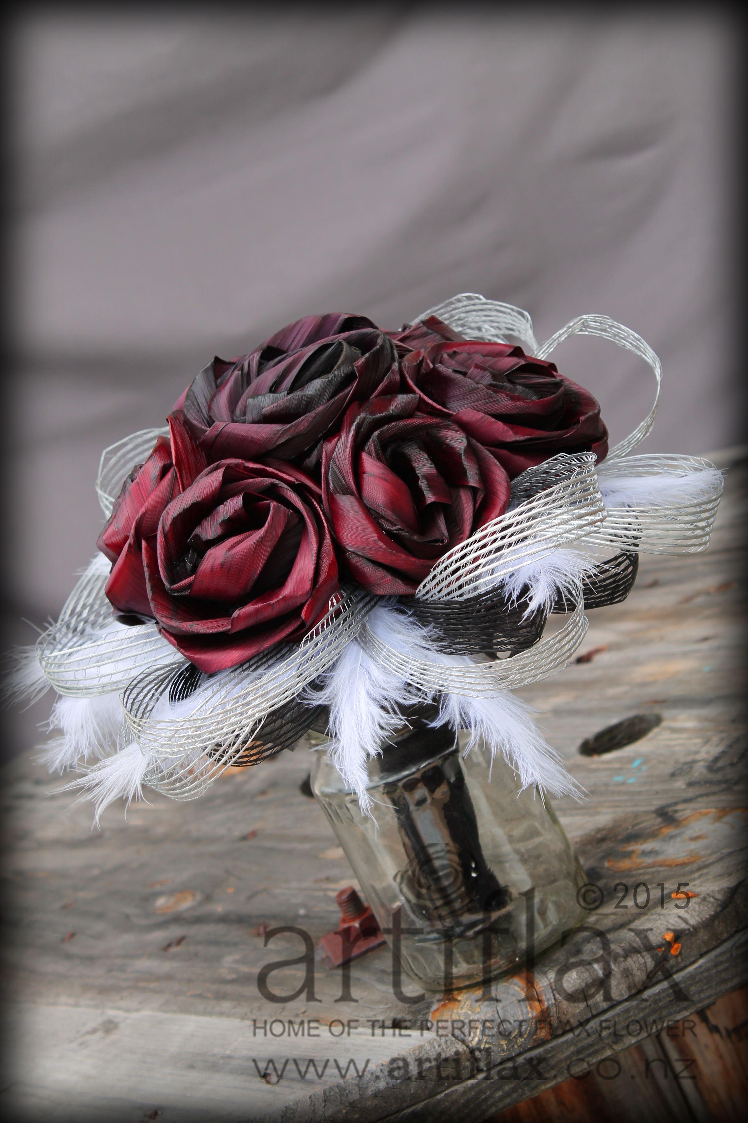 Flax Flower Bridal Bouquet By Artiflax Burgundy Flax Flowers With