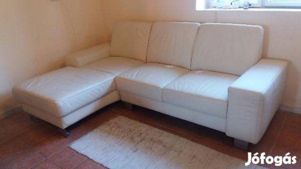Eladó Fehér Bőr sarok kanapé + fotel. Sarok ülőgarnitúra ...
