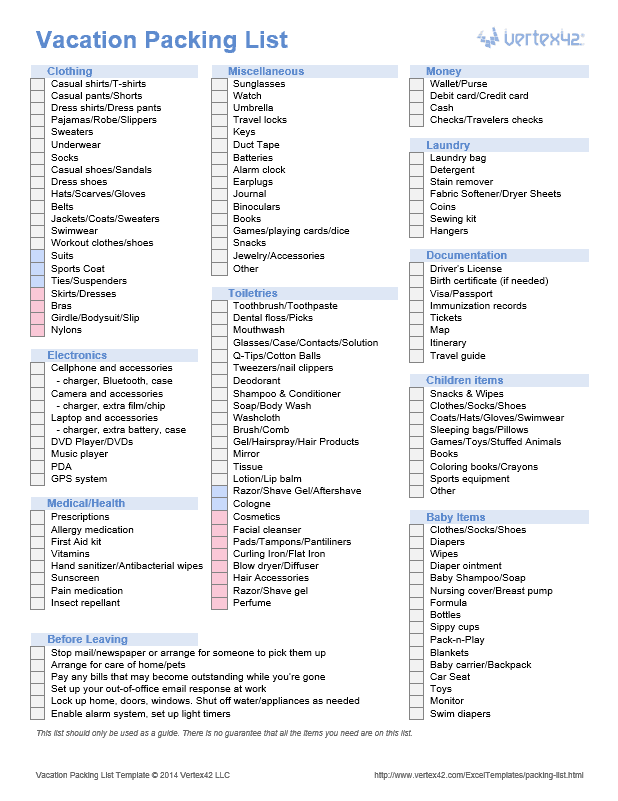 download the vacation packing list from vertex42 com for the home