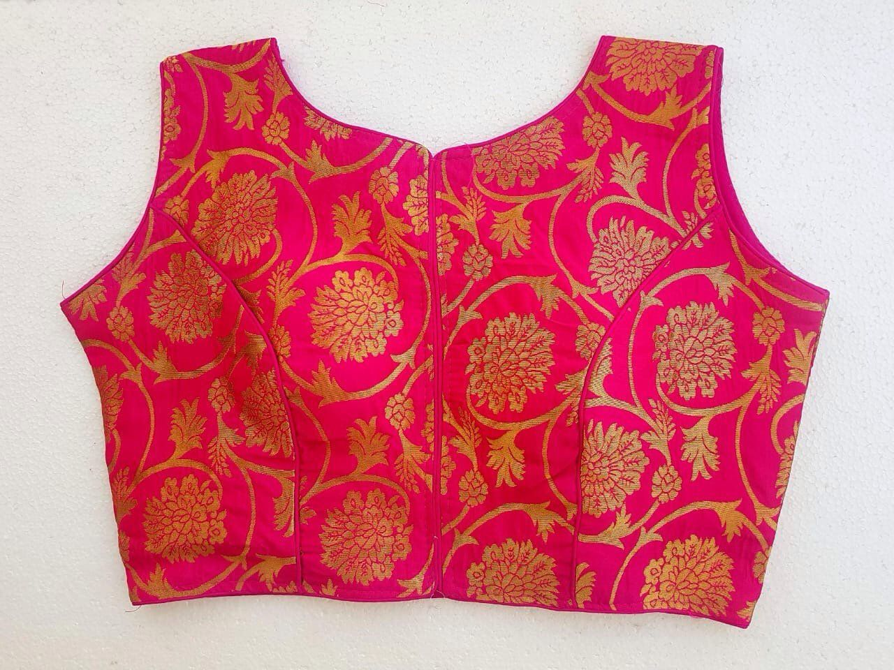 Latest Designer Blouse Ready Made Blouse Red Color Banarasi Silk Blouse Crop Top Choli Sari Beautiful Weaved Wedding /& Party Wear For Women