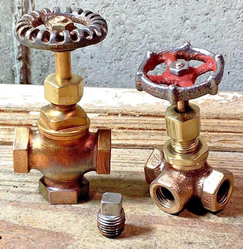 2 Antique Brass Valves Vintage Steampunk Lamp Parts Drum Gate