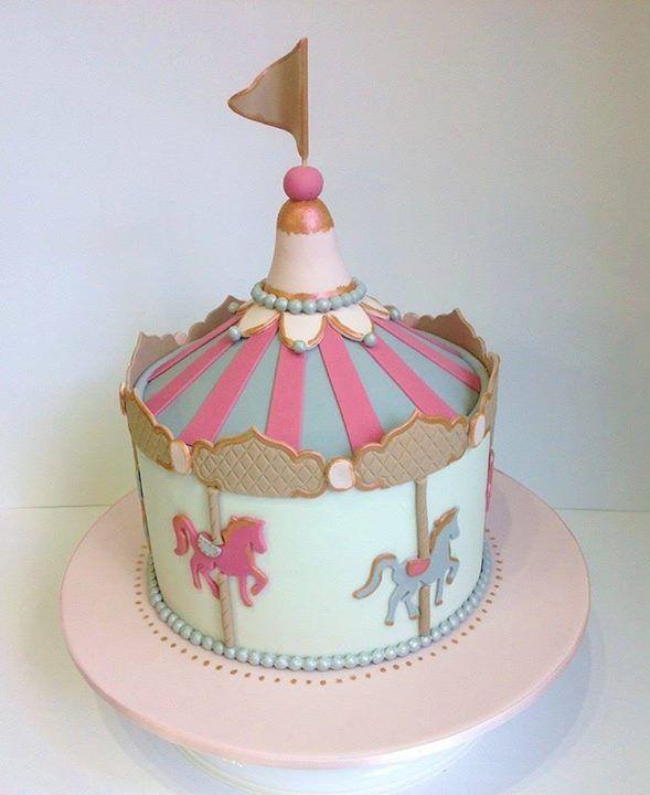 Circus Carousel Gold Birthday Cake Ideas