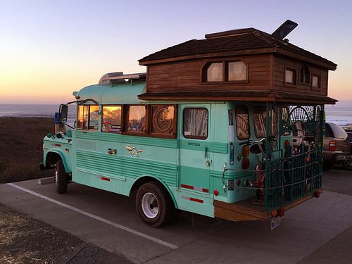 Photo of the cool bus and the sunset