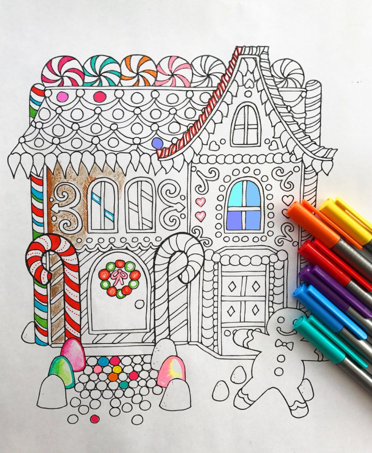 Christmas sweet house coloring pages for kids, printable
