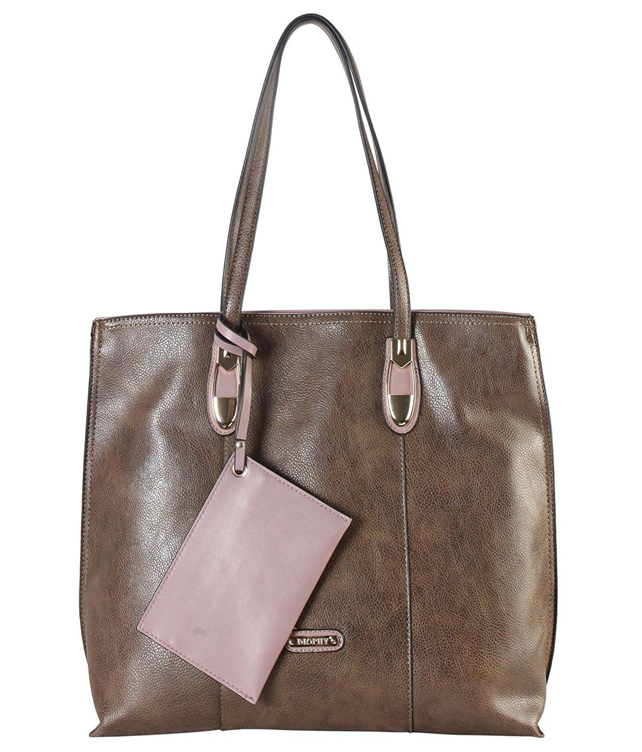Diophy PU Leather Front Logo Large Tote Accented with Coin