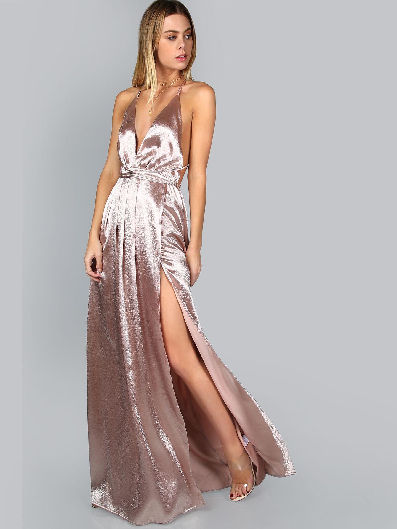 36042d05b63 Pink Plunge Neck Crisscross Back High Slit Wrap Cami Dress
