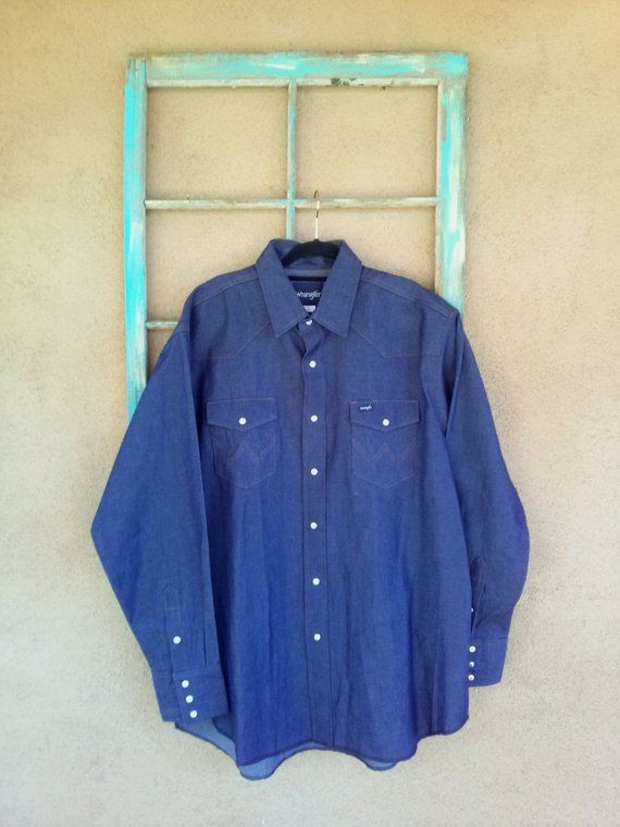 be39aa8737 Vintage 1980s Denim Shirt Wrangler Western Work Shirt Mens X Large Tall
